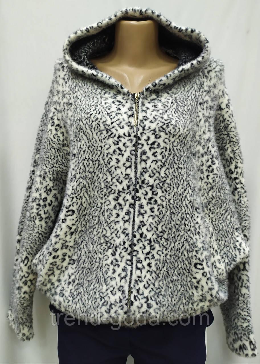 Кофта ангора леопардовая на молнии, с капюшоном