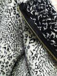 Кофта ангора леопардовая на молнии, с капюшоном, фото 5