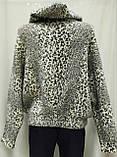 Кофта ангора леопардовая на молнии, с капюшоном, фото 7