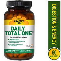 Мультивитамины Country Life, Daily Total One, без железа, 60 вегетарианских капсул