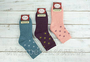 Жіночі термо шкарпетки шкарпетки махрові Житомир Люкс з малюнком сніжинки 36-40 мікс кольорів
