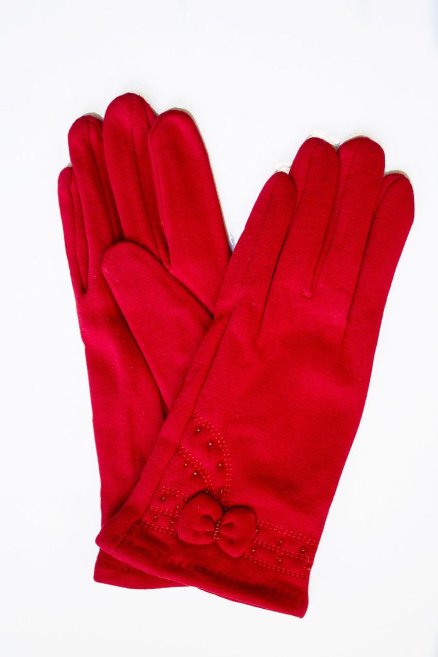 Женские стрейчевые перчатки Красные 119S1