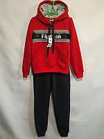 Спортивный утепленный костюм  #1922 для девочек. 7-11 лет (122-146 см). С красной кофтой. Оптом