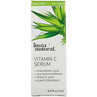 Сыворотка с витамином C, гиалуроновой и феруловой кислотами, омолаживающая, 5 ml, InstaNatural