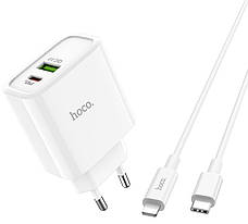 Зарядное устройство Hoco C57A PD + QC3.0 + кабель Type-C-Lightning 3.1 A 18 Вт Белый, фото 3