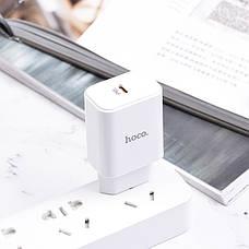 Зарядное устройство Hoco C71A PD3.0 Type-C + кабель Lightning 2.4A 18 Вт Белый, фото 3