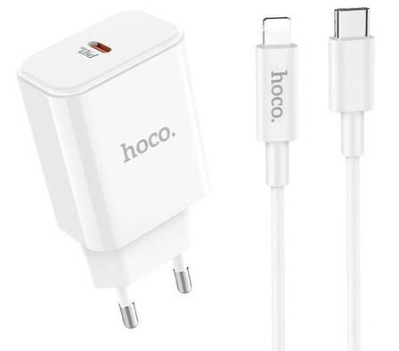 Зарядное устройство Hoco C71A PD3.0 Type-C + кабель Lightning 2.4A 18 Вт Белый, фото 2