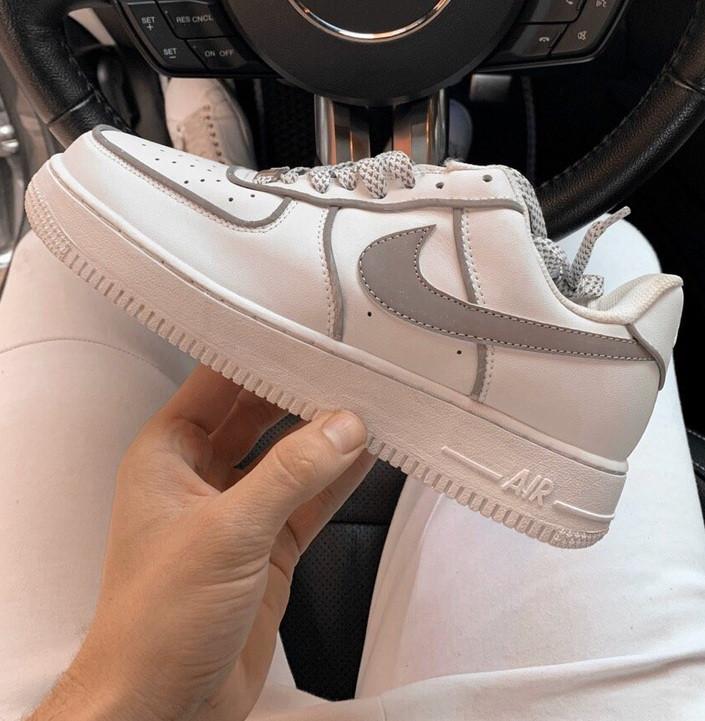 Мужские кроссовки Nike Air Force 1 Low 3M Static Reflective WhiteWolf Grey 40 44р. Живое фото (Реплика ААА+)