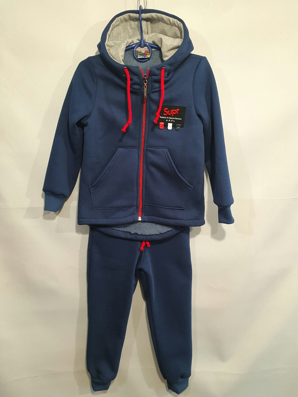 Спортивный утепленный костюм  #1911 детский. 4-7 лет (104-122 см). Синий. Оптом
