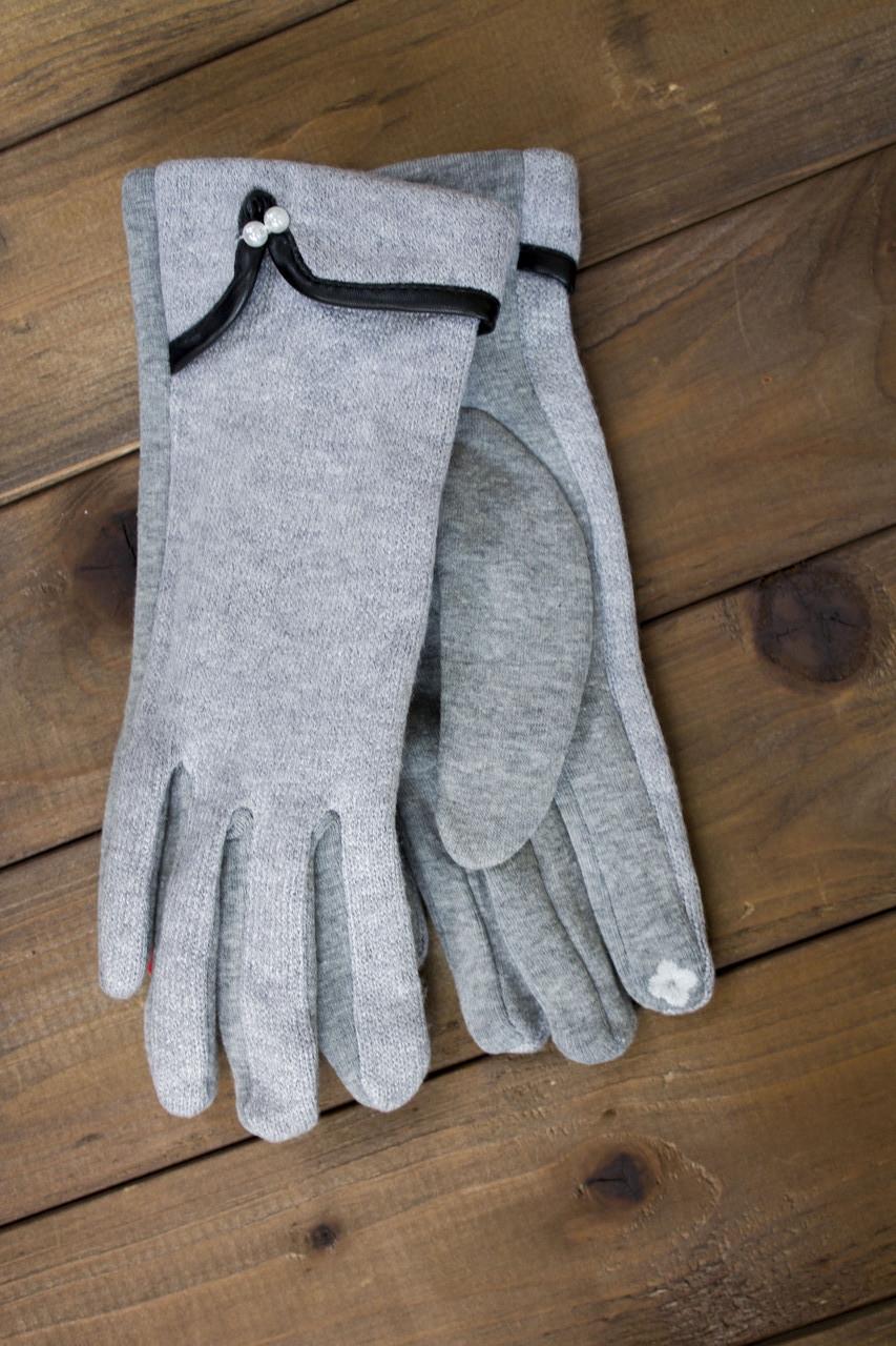 Женские стрейчевые перчатки серые 9-1805-2