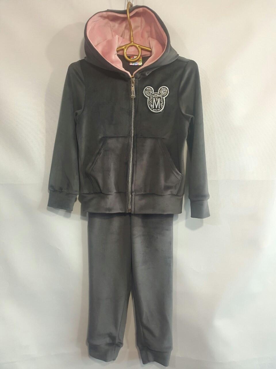 Спортивный велюровый костюм  #1920 для девочек. 4-7 лет (104-122 см). Серый. Оптом