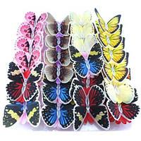 LED светильник бабочка разные цвета в наборе 10см 24шт.