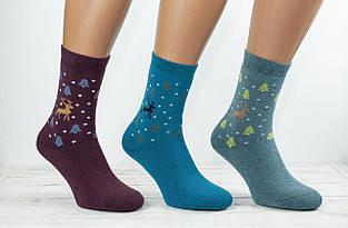 Жіночі термо носки шкарпетки махровіЖитомир Люкс з малюнком олення, сніжинок і ялинок 36-40 мікс кольорів