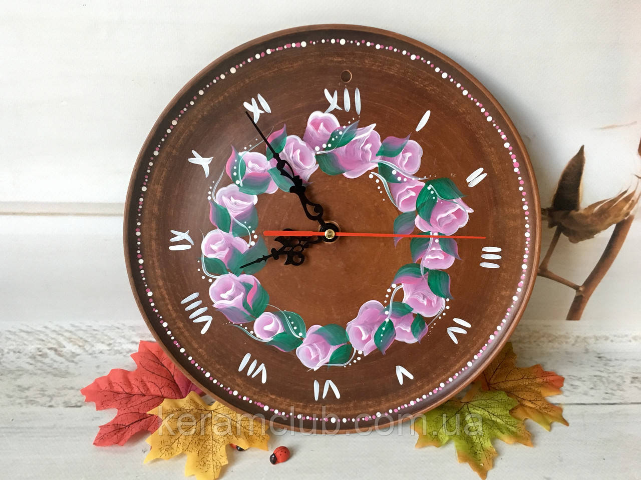Настенные часы с ручной росписью d 25 см