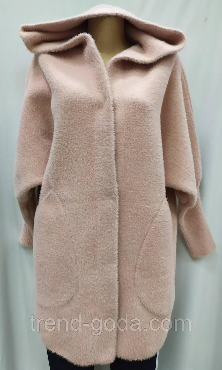 Кофта Полупальто женское из альпаки  с капюшоном, пудра