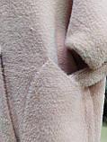 Кофта Полупальто женское из альпаки  с капюшоном, пудра, фото 5