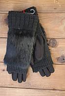 Женские зимние перчатки стрейч+вязка черные, фото 1