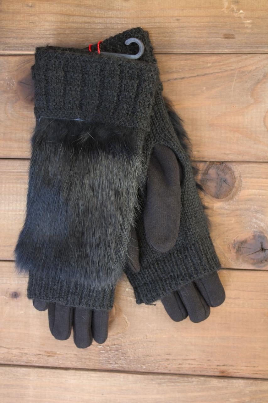 Женские зимние перчатки стрейч+вязка черные