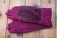 Женские зимние перчатки стрейч+вязка бордо, фото 1