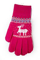 Трикотажные перчатки вязаные 5610-6 малиновые, фото 1