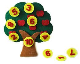 Игра развивающая из фетра Деревце з цифрами 20*18 см