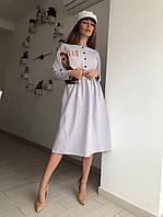 Стильное платье с пуговицами спереди, ткань: креп-костюмка. Размер: С(42-44)М(44-46). Разные цвета. (1206)