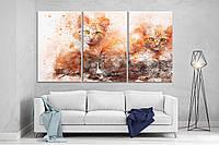 Модульная картина ProfART XL111 из трех частей 167 x 99 см Два кота (hub_KAhN96673)