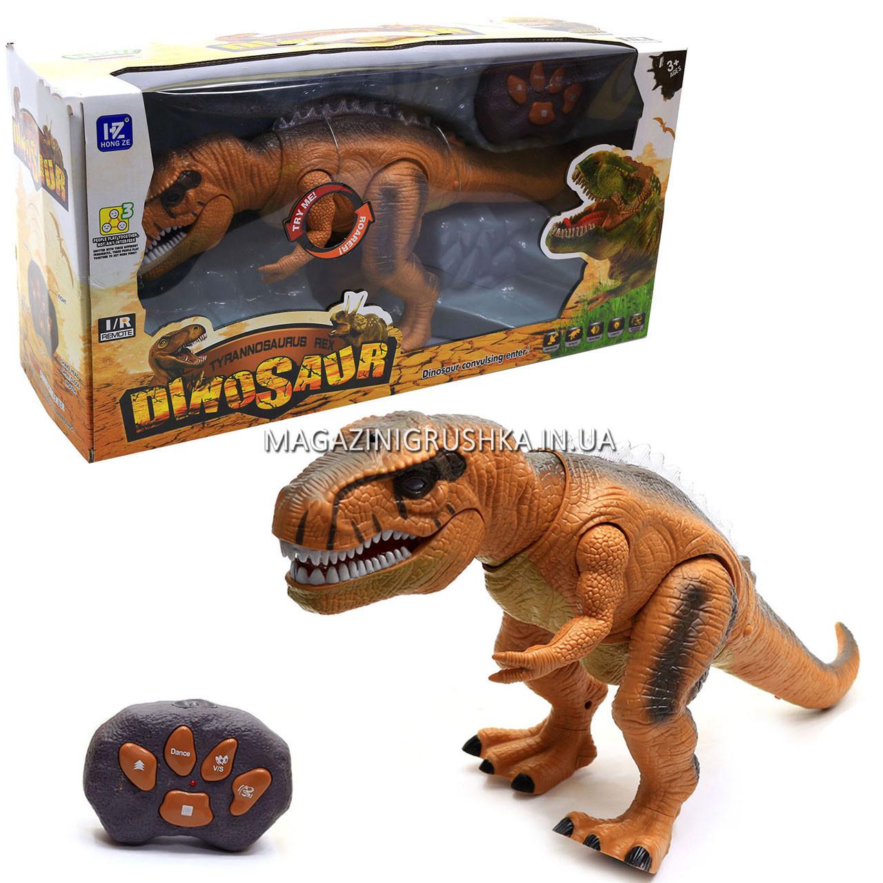 Динозавр игрушечный «Тираннозавр» на радиоуправлении (звук, свет) арт. F161/352 - 2 цвета Коричневый