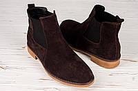 Ботинки замшевые мужские зимние коричневые (челси), фото 1