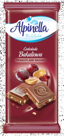 Шоколад Alpinella  з арахісом та родзинками, 90г,25шт/ящ