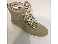 Бежевые кожаные ботинки на меху шнурок молния, фото 1