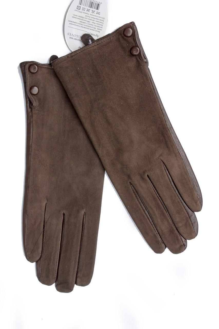 Женские комбинированные перчатки кожа+замша 756s3