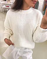 Модный вязаный женский свитерок, белый, фото 1