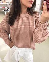 Жіночий теплий в'язаний светр без горла, пудра, фото 1