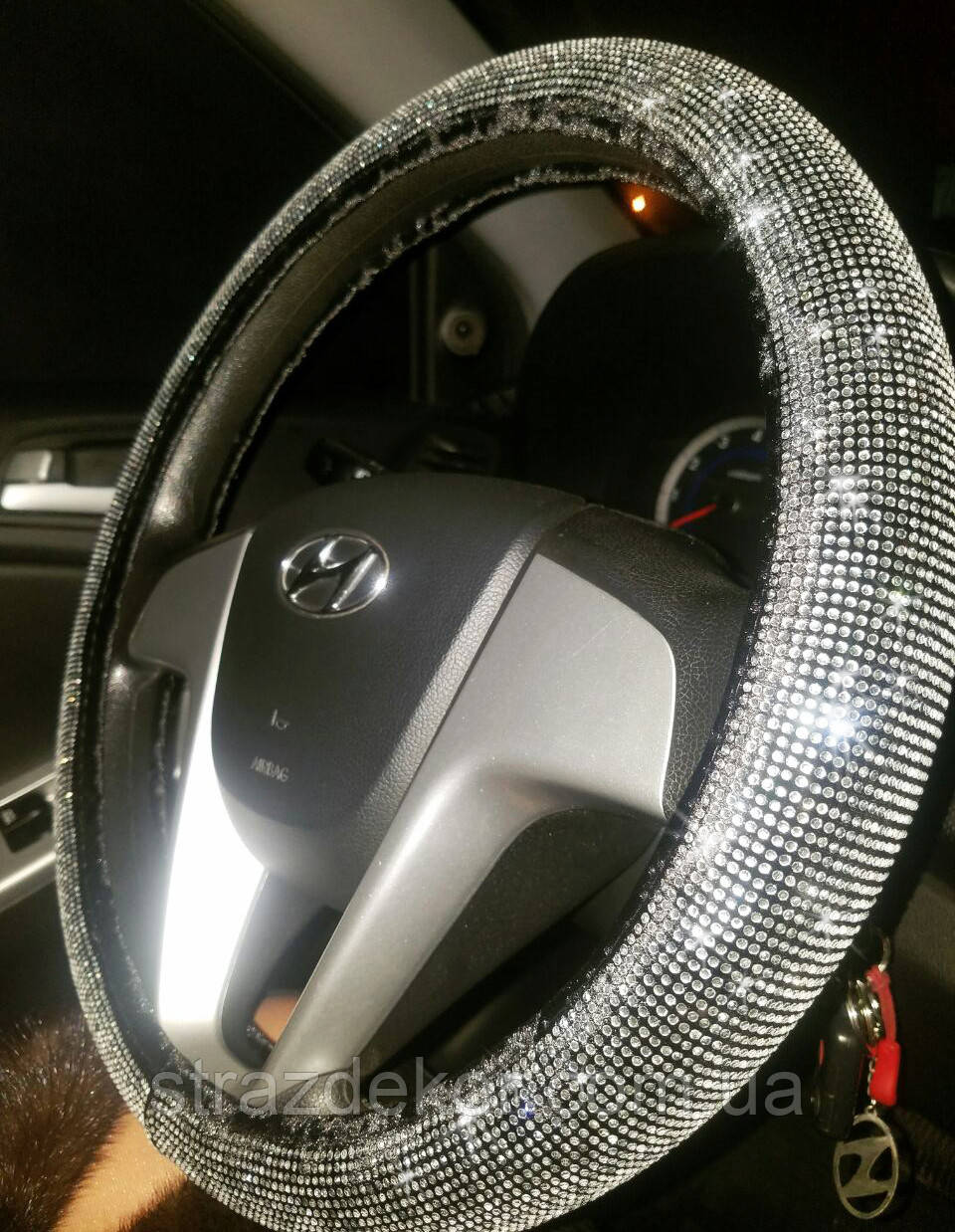 Чехол на руль в стразах кристалл, фото 1