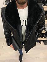 Мужское модное утепленное пальто (черное) - Турция
