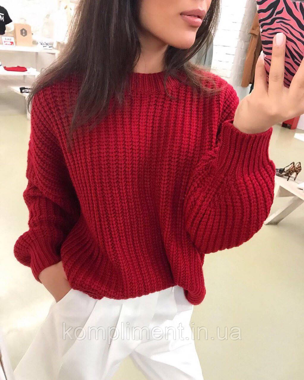 Женский теплый вязаный свитер без горла. BK - 29