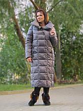 Женский длинный пуховик одеяло VS 87 с воротником подушкой, цвет капучино