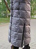 Женский длинный пуховик одеяло VS 87 с воротником подушкой, цвет капучино, фото 6