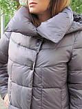 Женский длинный пуховик одеяло VS 87 с воротником подушкой, цвет капучино, фото 5