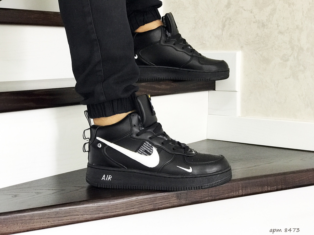 Зимние мужские кроссовки Nike Air Force,черные с белым