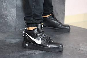 Зимние мужские кроссовки Nike Air Force,черные с белым, фото 2