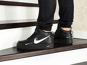Зимние мужские кроссовки Nike Air Force,черные с белым, фото 3