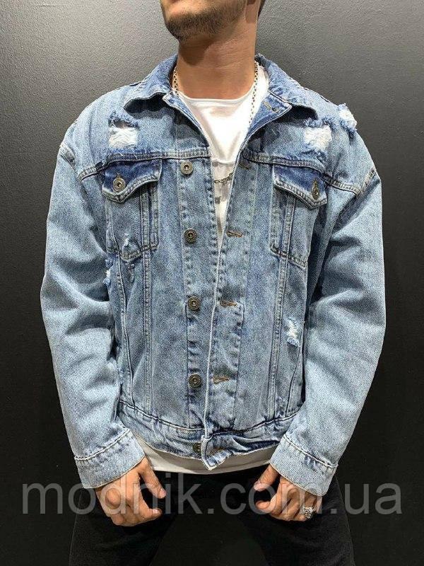 Мужской джинсовый пиджак (голубой) - Турция
