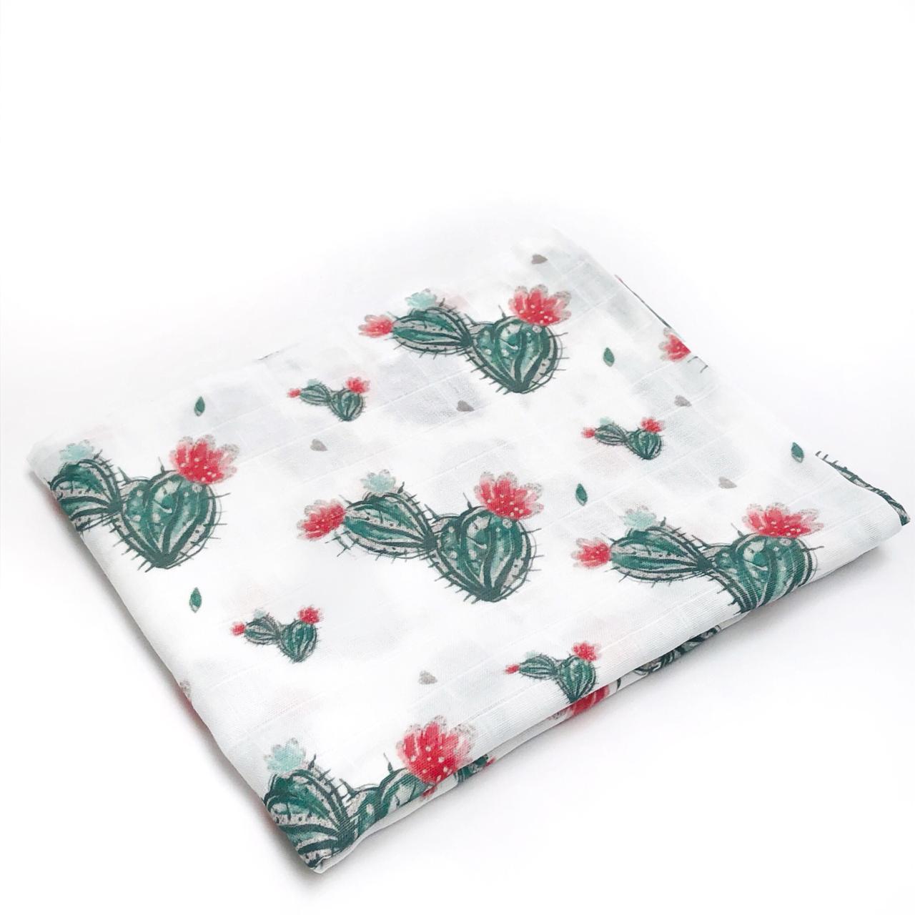 Пеленка муслиновая 100х120 см Кактусы с цветочком