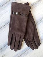 Женские замшевые СЕНСОРНЫЕ перчатки Большие, фото 1