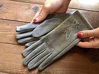 Женские замшевые СЕНСОРНЫЕ перчатки Маленькие, фото 1