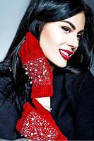 Женские зимние перчатки стрейч+вязка Сенсорные, фото 1