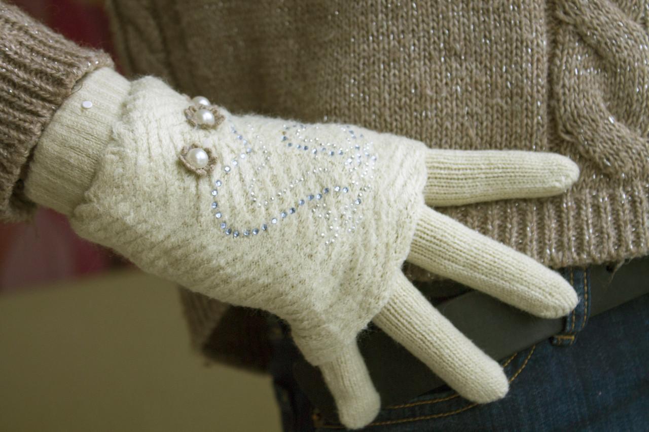 Вязаные перчатки + митенки