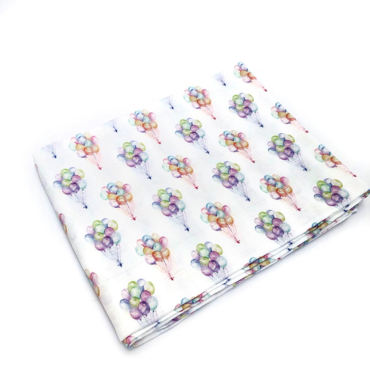 Пеленка муслиновая 100х120 Маленькие воздушные шары